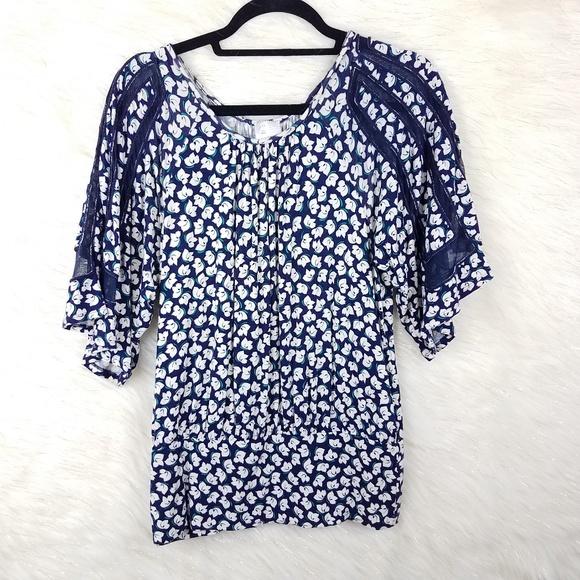 Anthropologie postmark floral blouse dolman sleeve